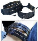 Double Strap Black Leather Surf Wristband Bracelet & Black Coloured Cords - 0030